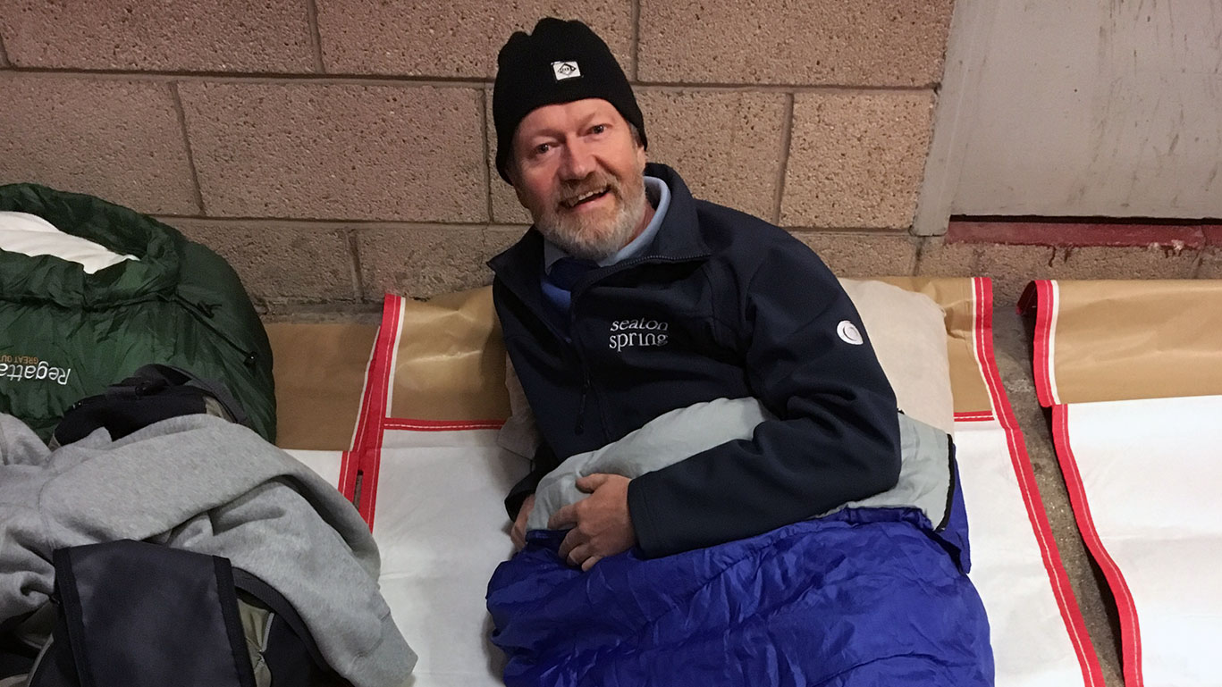 Paul getting ready to sleep out for charity
